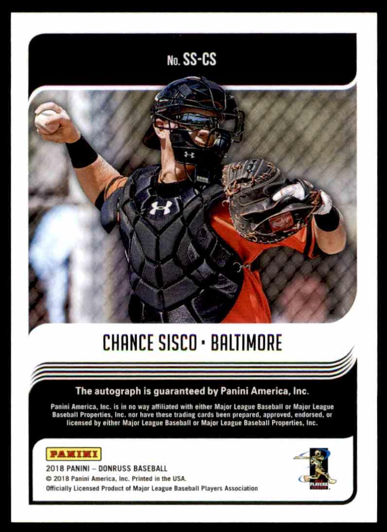 2018 Panini Donruss Signature Series Chance Sisco #SS-CS card back image