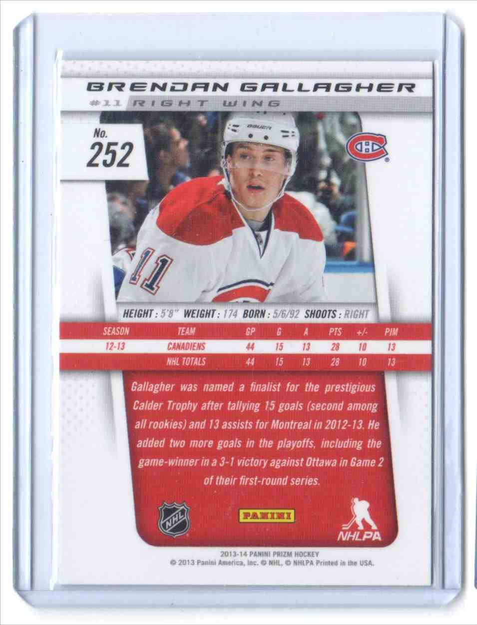 2013-14 Panini Prizm Brendan Gallagher #252 card back image