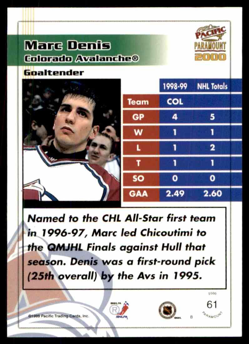 1999-00 Paramount Copper Marc Denis #61 card back image