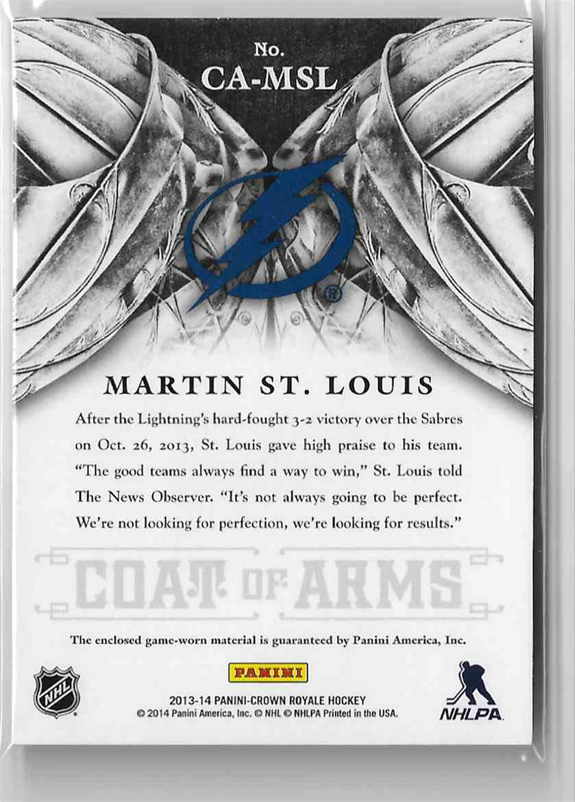 2013-14 Panini Crown Royale Coat Of Arms Materials Martin St. Louis #CA-MSL card back image