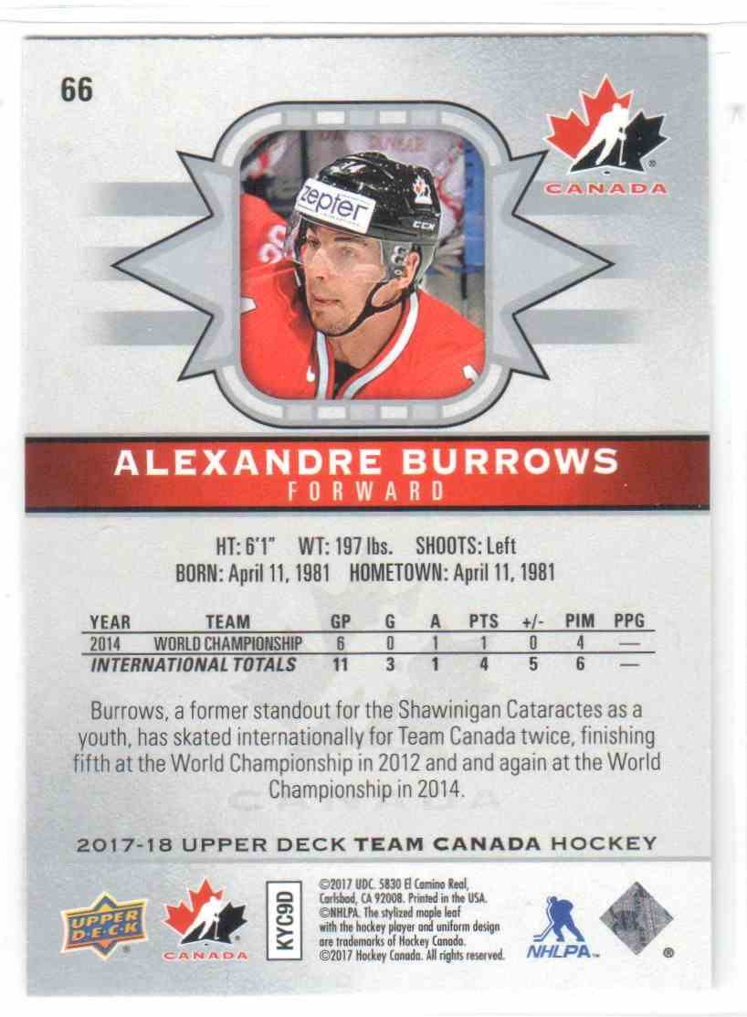 2017-18 Upper Deck Team Canada Canadian Tire Alexandre Burrows #66 card back image