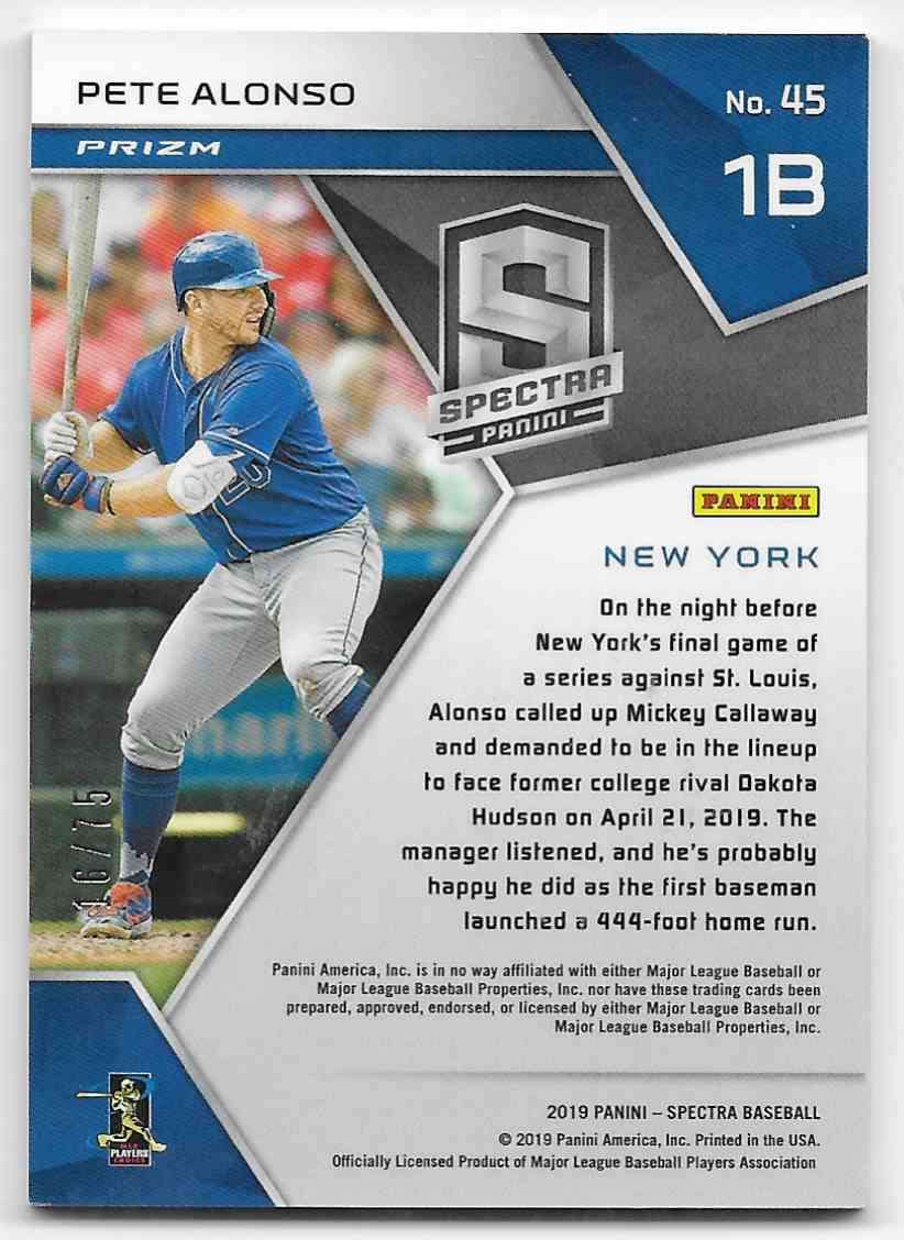 2019 Panini Spectra Neon Pink Pete Alonso #45 card back image