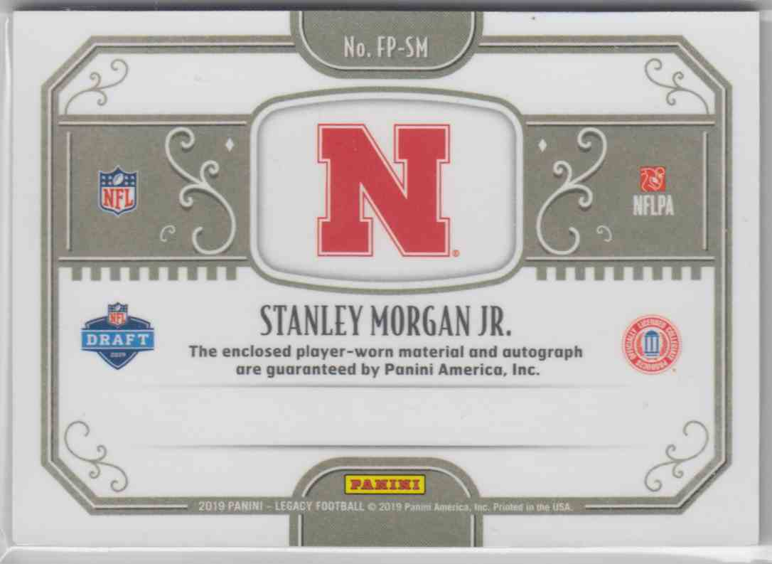 2019 Panini Legacy Futures Patch Autographs Stanley Morgan JR. #FP-SM card back image