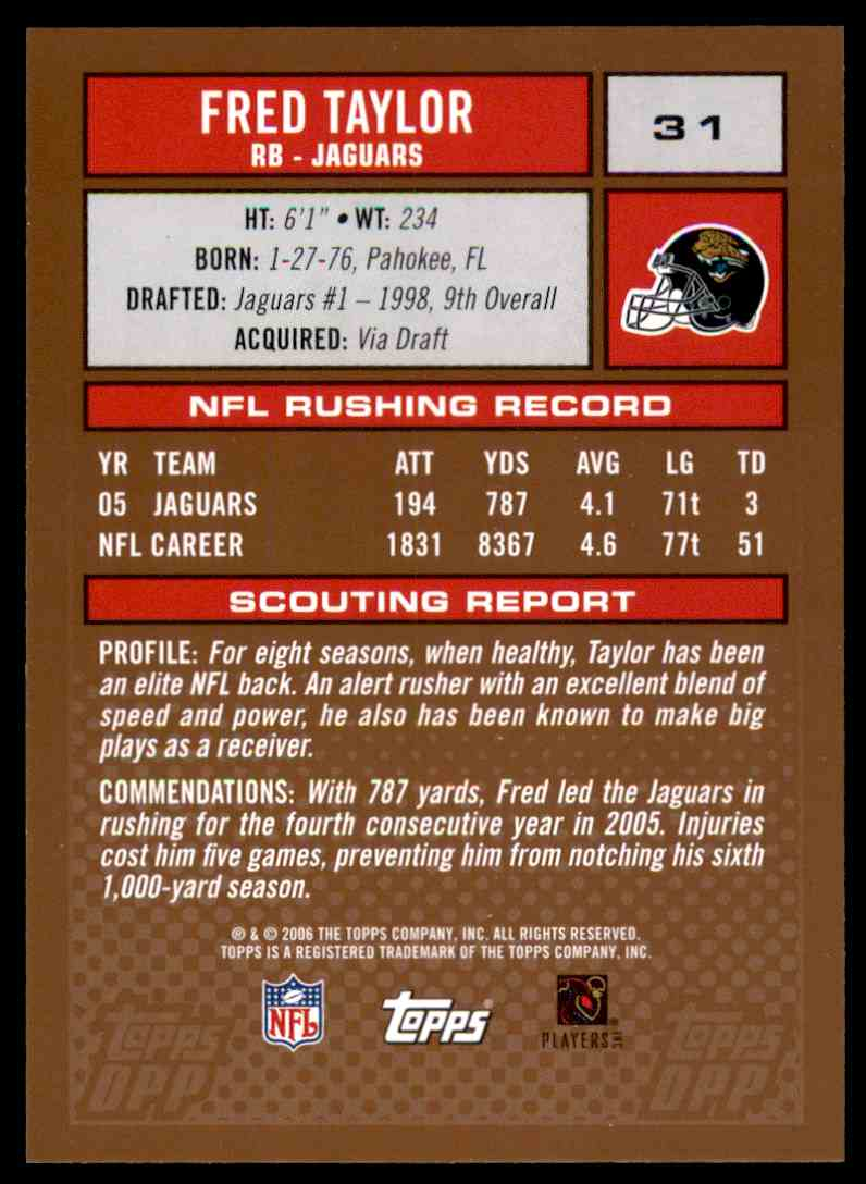 2006 Topps Draft Picks and Prospects Fred Taylor #31 card back image