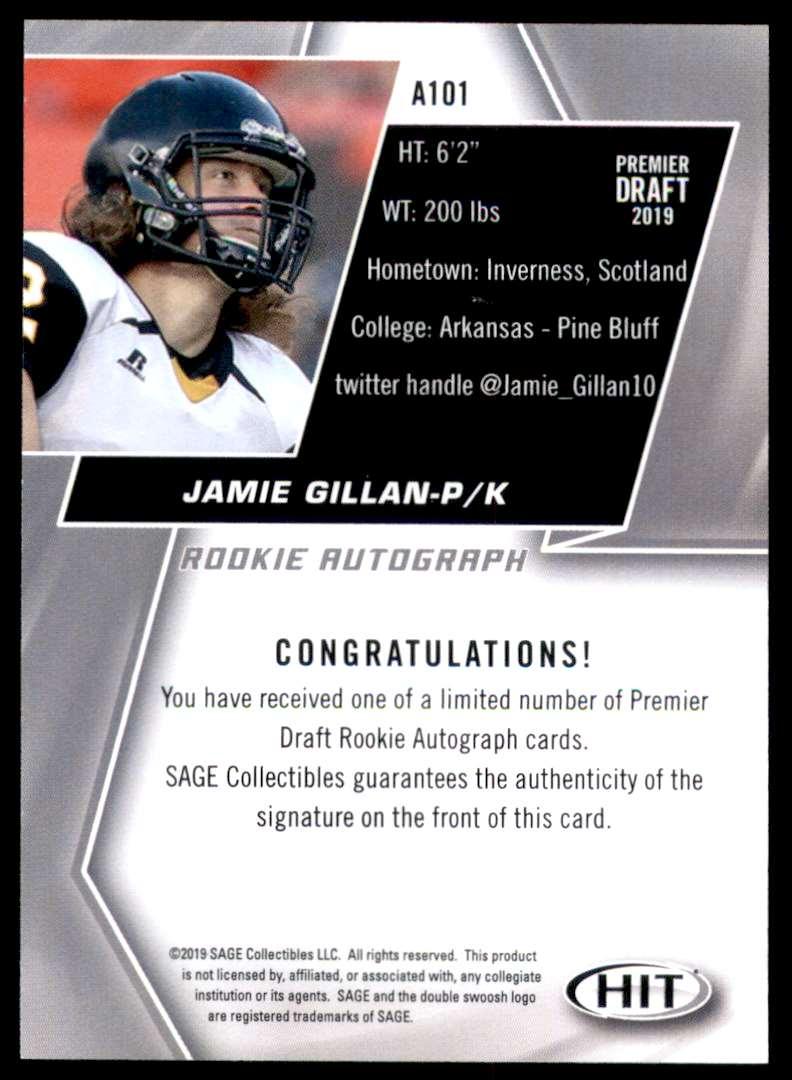 2019 Sage Hit Autographs Red Jaime Gillan #A101 card back image