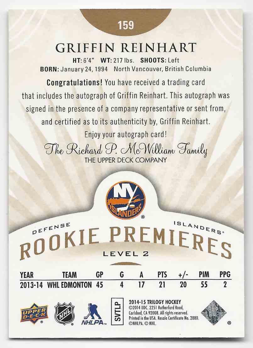 2014-15 Upper Deck Trilogy Griffin Reinhart #159 card back image