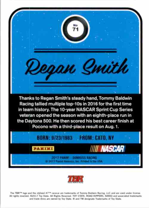 2017 Donruss Regan Smith #71 card back image