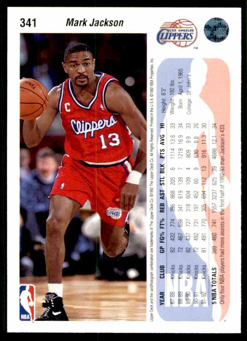1992-93 Upper Deck Mark Jackson #341 card back image