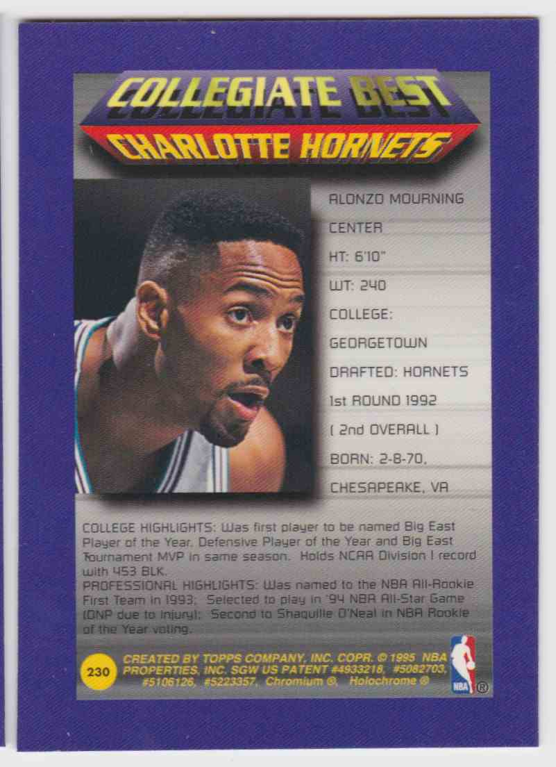 1994 95 Topps Finest Collegiate Best Alonzo Mourning 230 On
