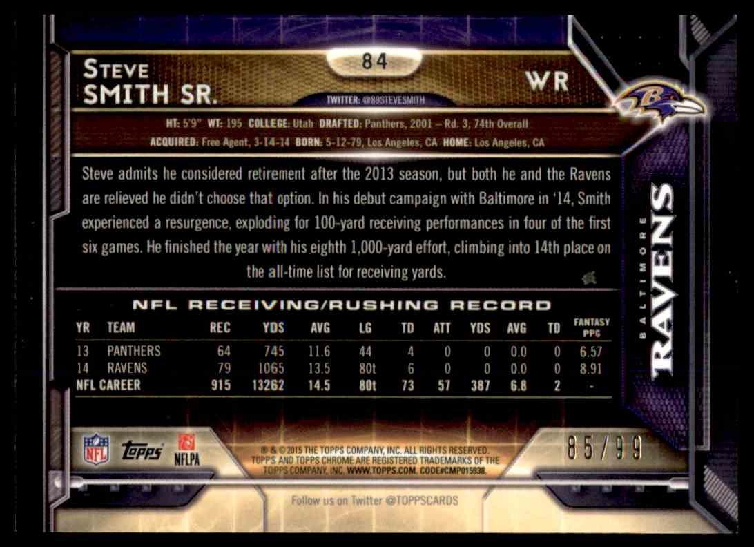 2015 Topps Chrome Sepia Refractor Steve Smith Sr. #84 card back image