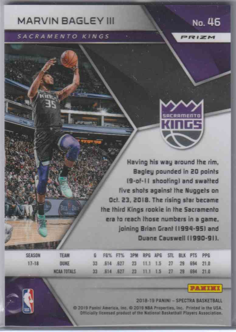 2018-19 Panini Spectra White Sparkle Marvin Bagley III #46 card back image