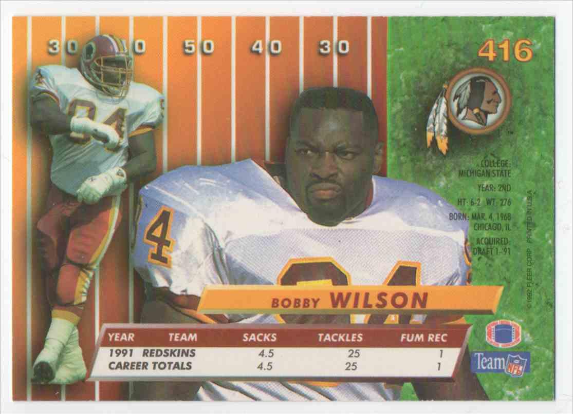 1992 Ultra Bobby Wilson #416 card back image