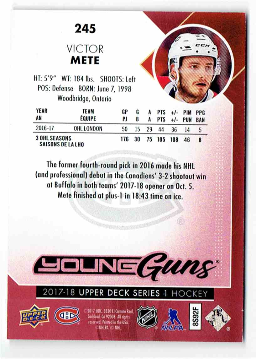2017-18 Upper Deck Exclusives Upper Deck Exclusives Victor Mete #245 card back image