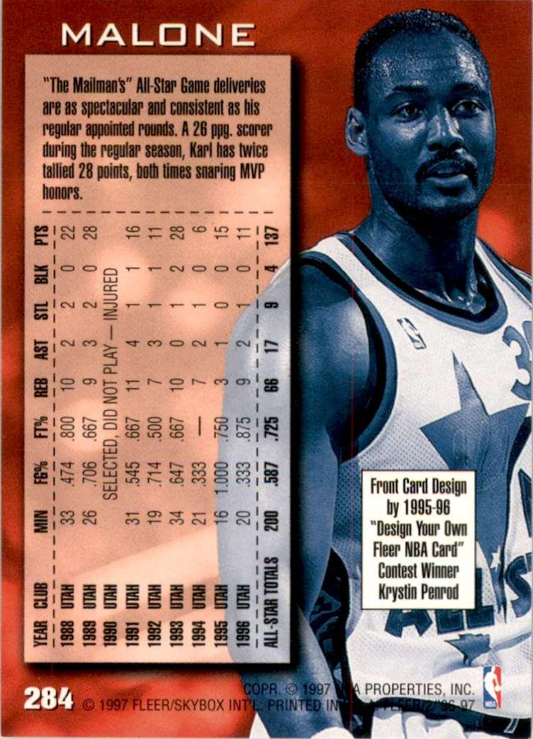 1996-97 Fleer Karl Malone As #284 card back image