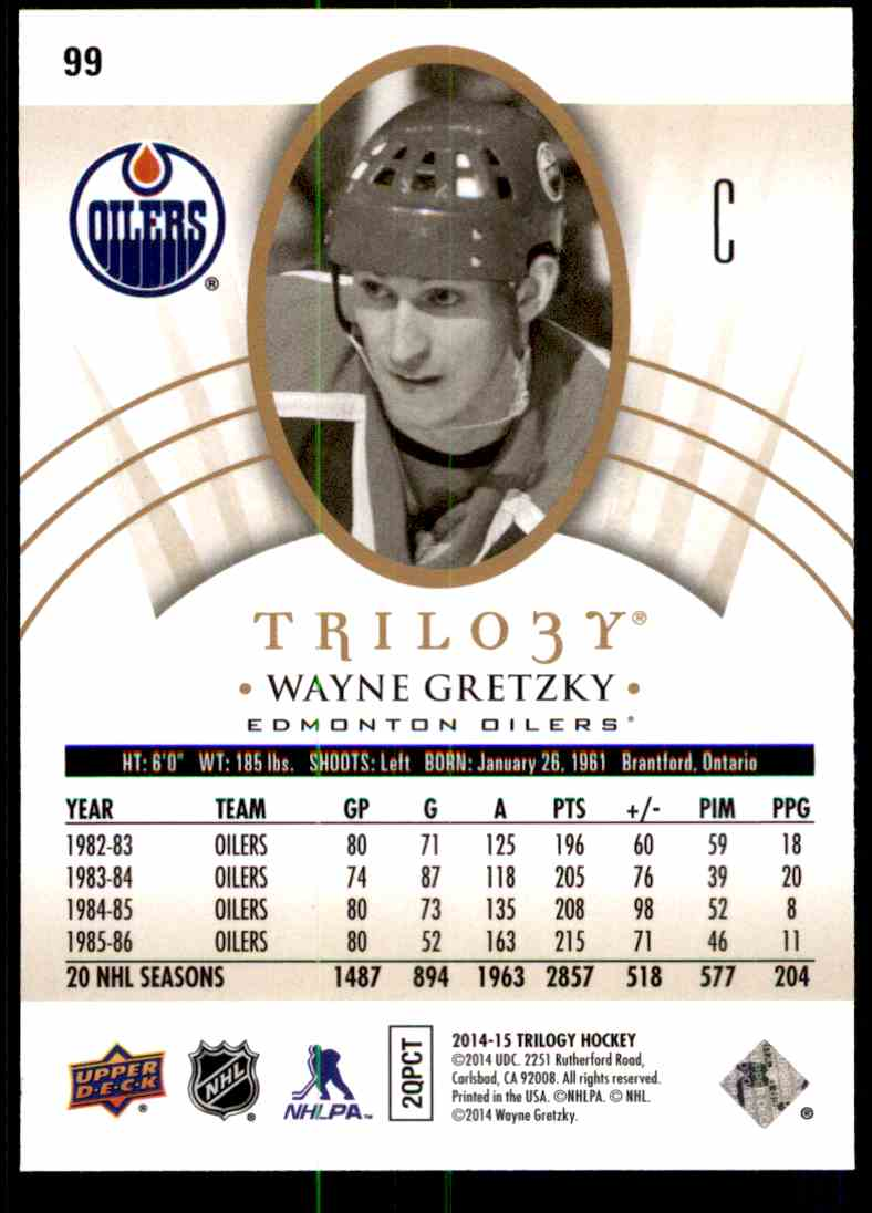 2014-15 Upper Deck Trilogy Wayne Gretzky #99 card back image