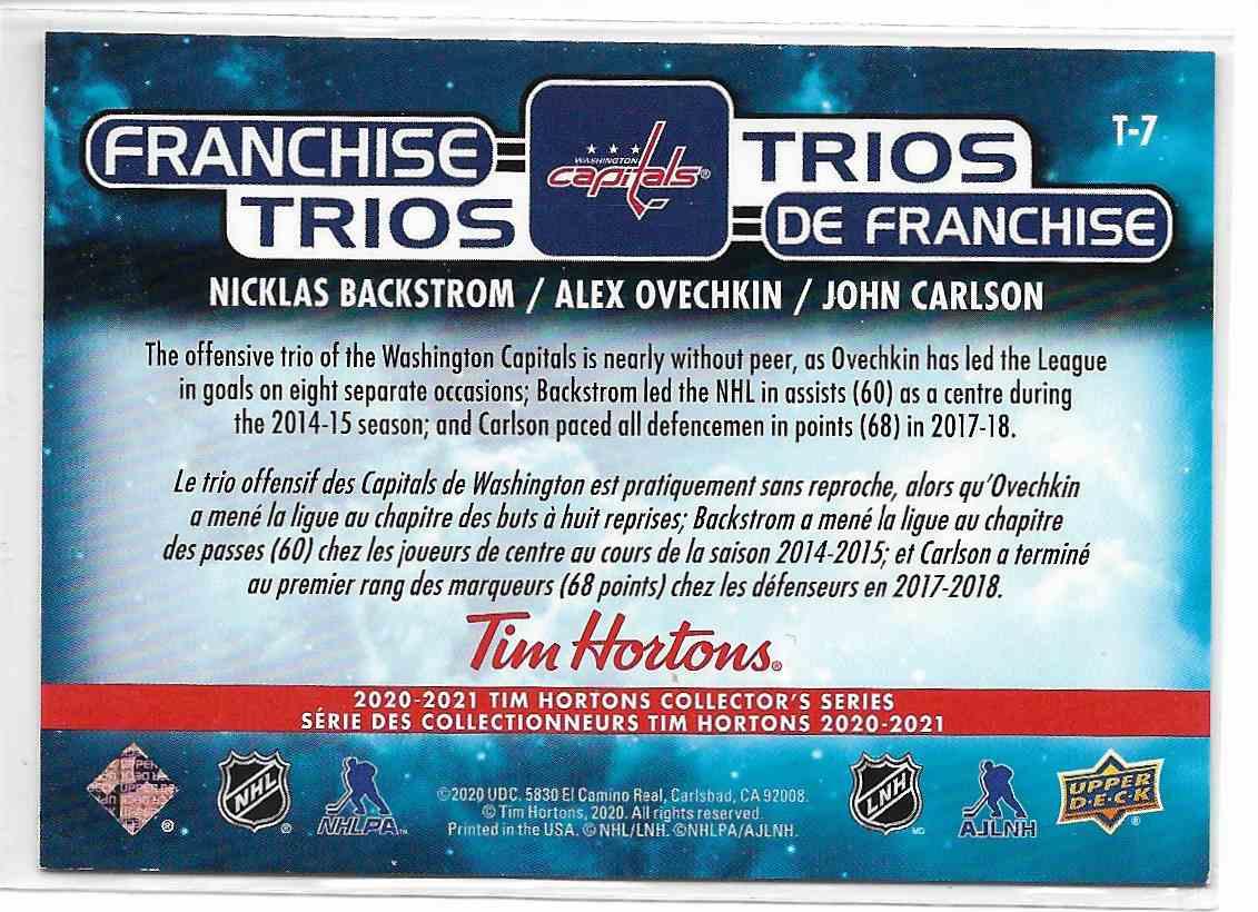 2021-22 Upeer Deck Tim Horton Backstrom/Ovechkin/Carlson #T-7 card back image