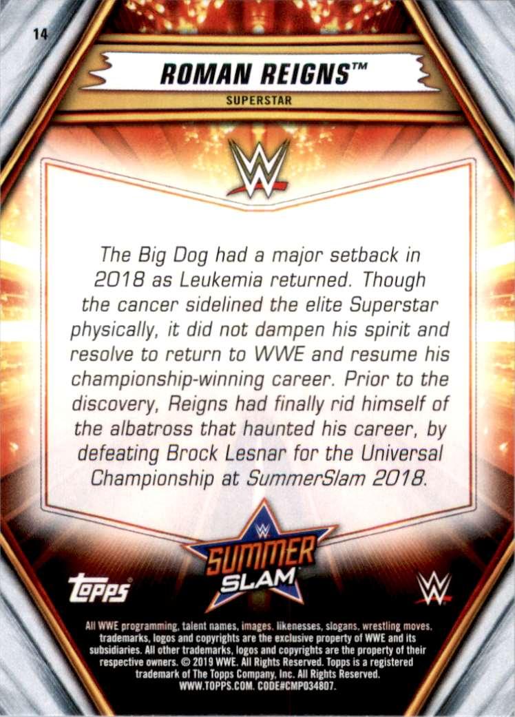 2019 Topps Wwe SummerSlam Roman Reigns #14 card back image