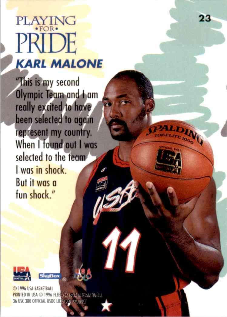 1996-97 SkyBox USA Karl Malone #23 card back image