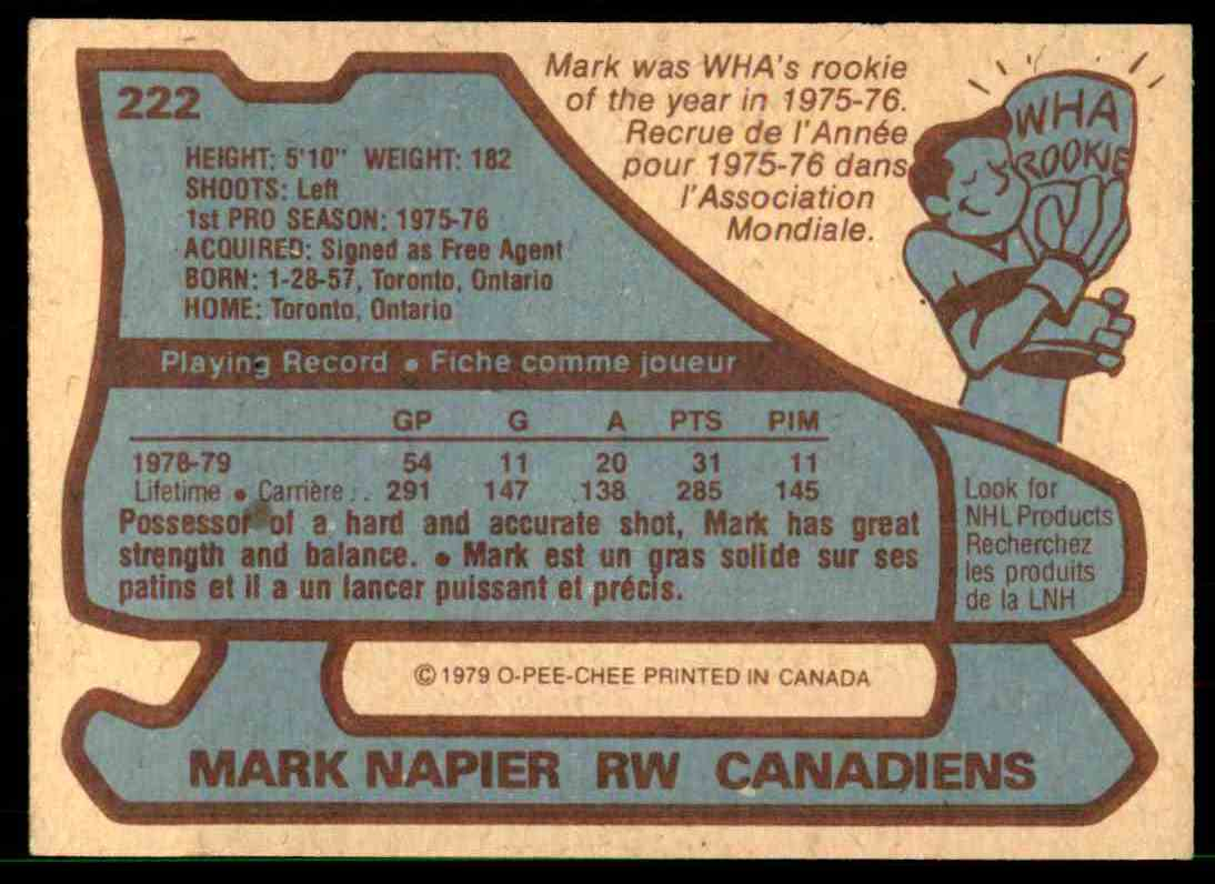 1979-80 O-Pee-Chee Mark Napier #222 card back image