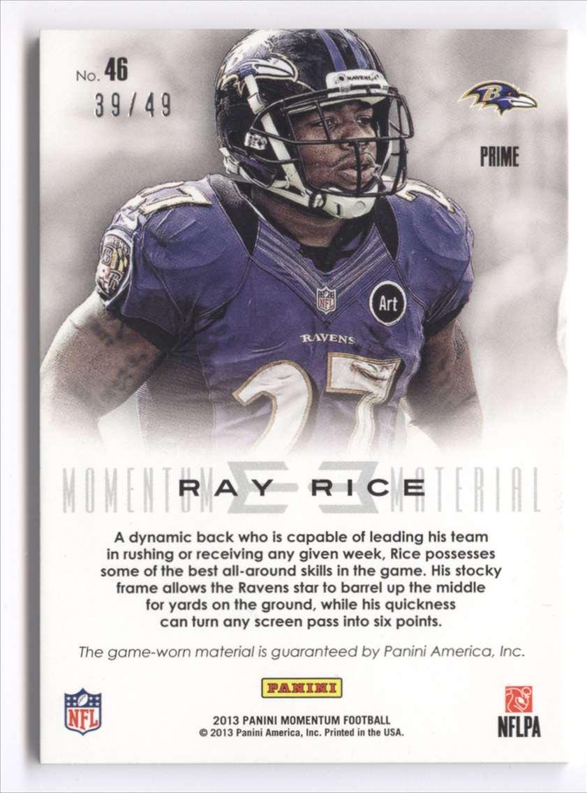 2013 Panini Momentum Momentum Material Prime Ray Rice #46 card back image