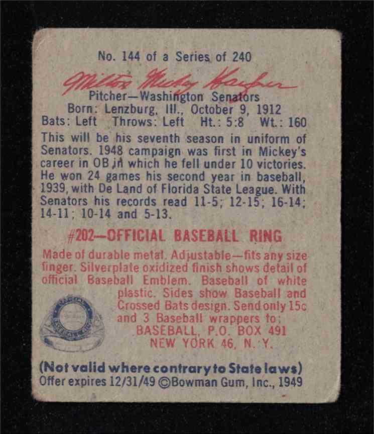 "1949 Bowman Milton ""Mickey"" Haefner EX #144 card back image"