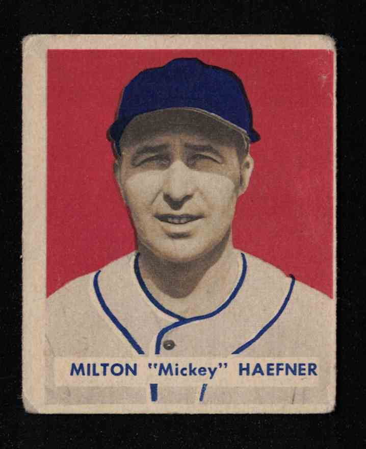 "1949 Bowman Milton ""Mickey"" Haefner EX #144 card front image"