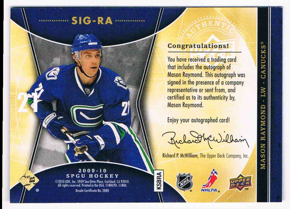 2009-10 Upper Deck SP Game Used SIGnificance Mason Raymond #SIG-RA card back image