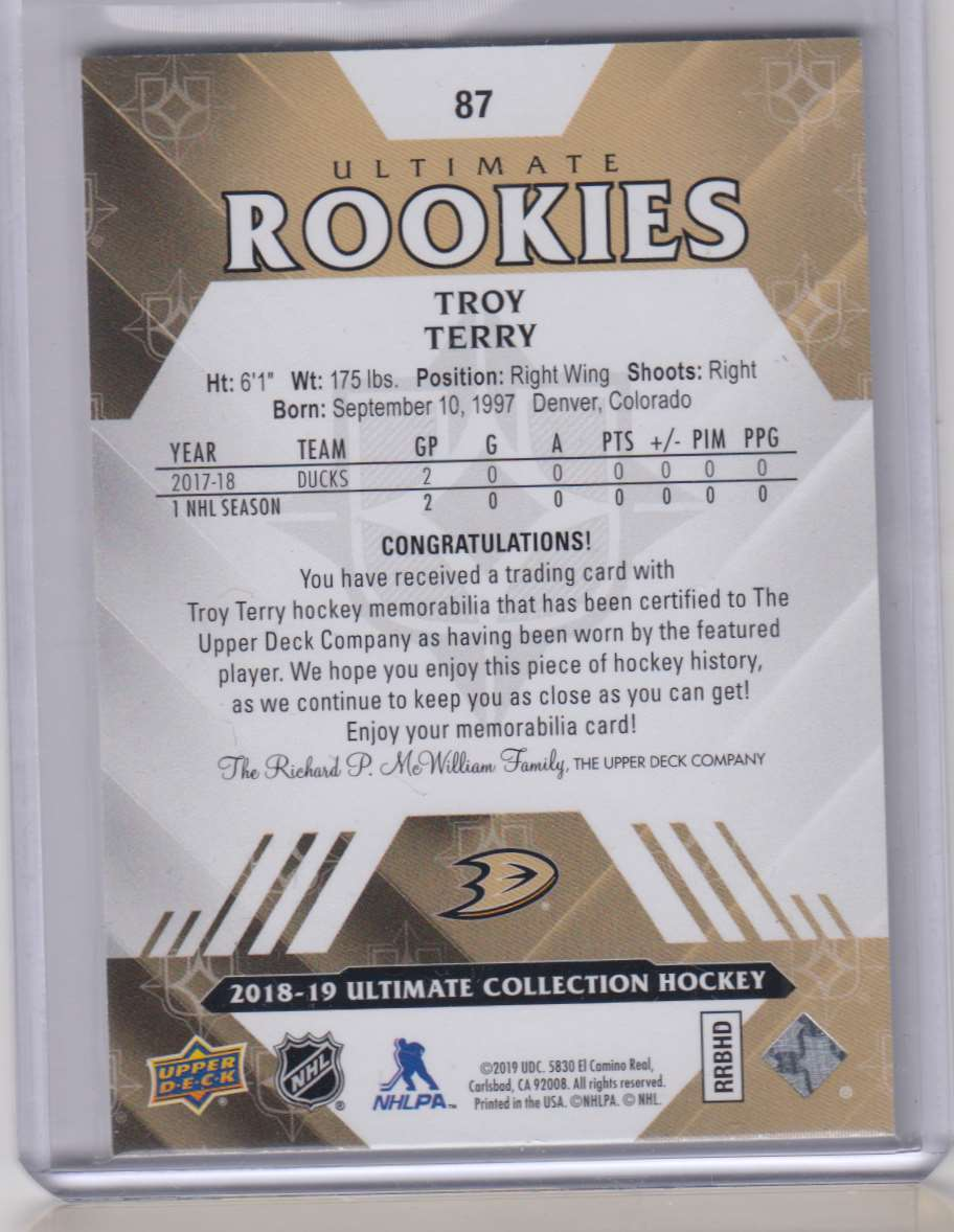 2018-19 Ultimate Collection Jerseys Troy Terry #87 card back image