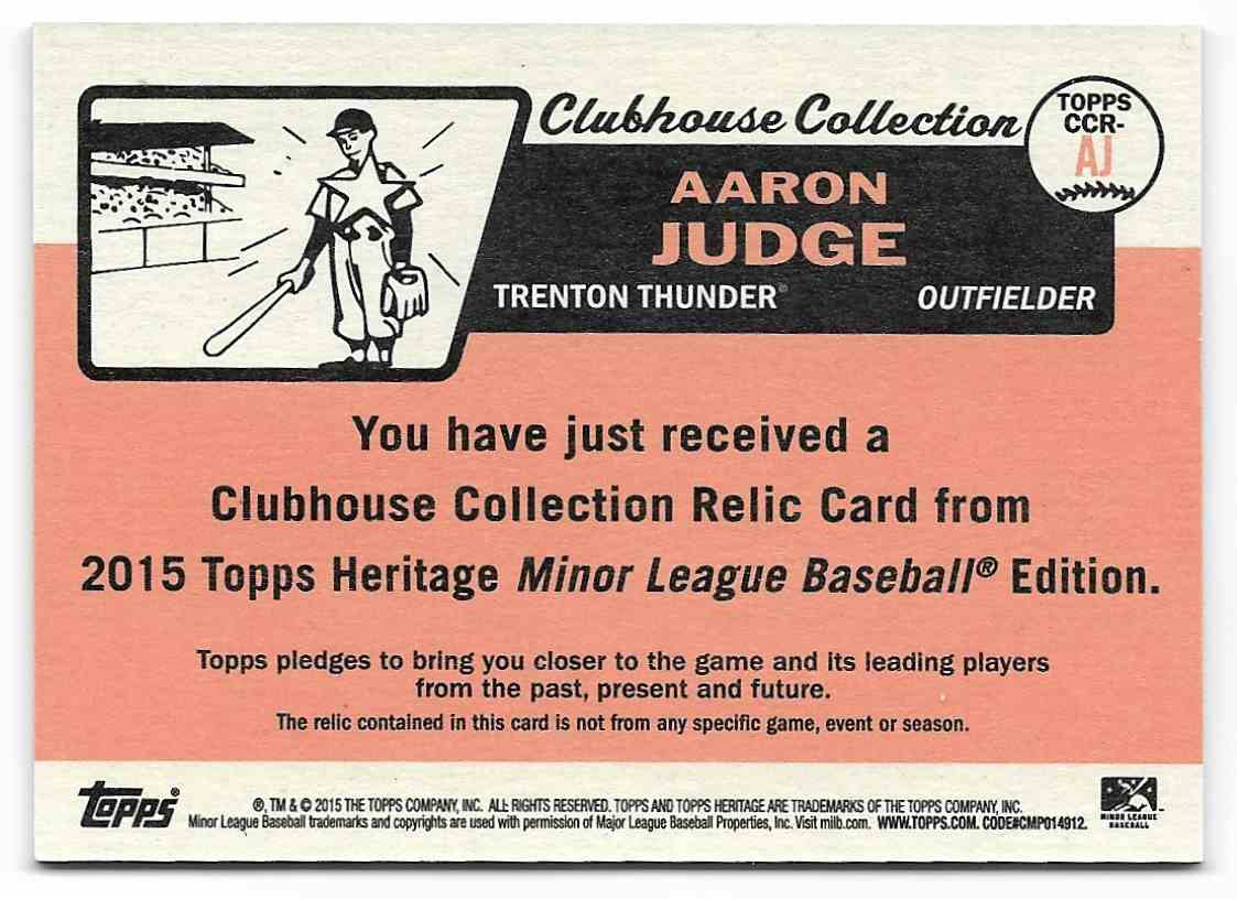 2015 Topps Heritage Minors Clubhouse Collection Relics Aaron Judge #AJ card back image