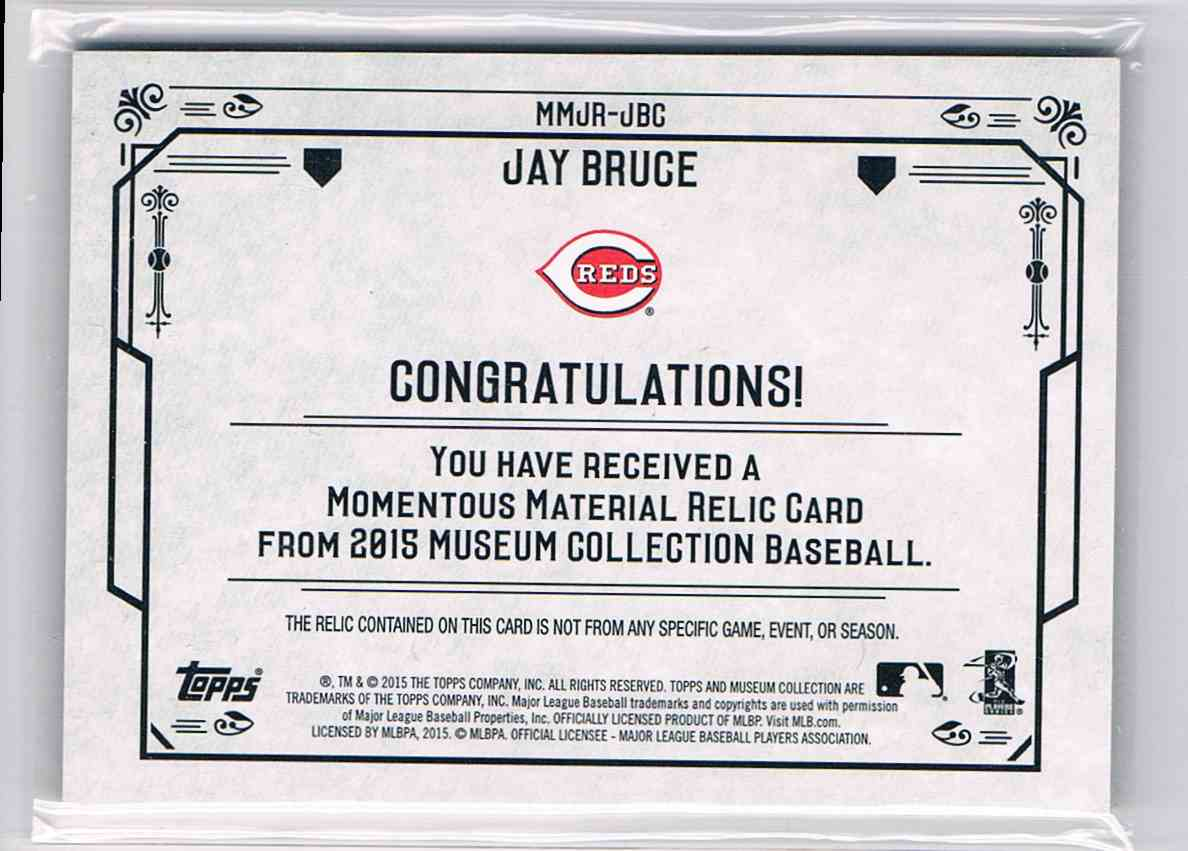 2016 Topps Museum Collection Jay Bruce #MMJR-JBC card back image