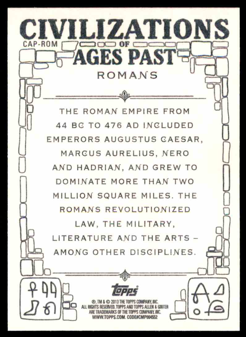 2013 Topps Allen And Ginter Civilizations Of Ages Past Romans #ROM card back image