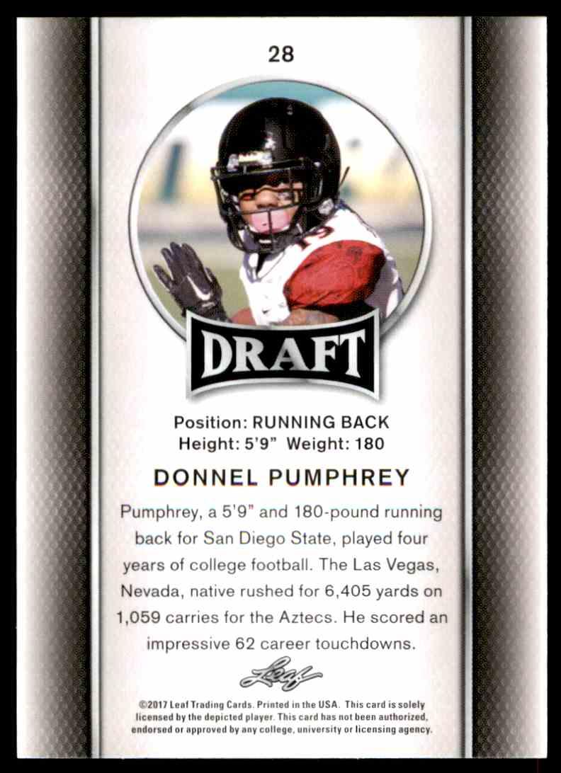 2017 Leaf Draft Donnel Pumphrey #28 card back image