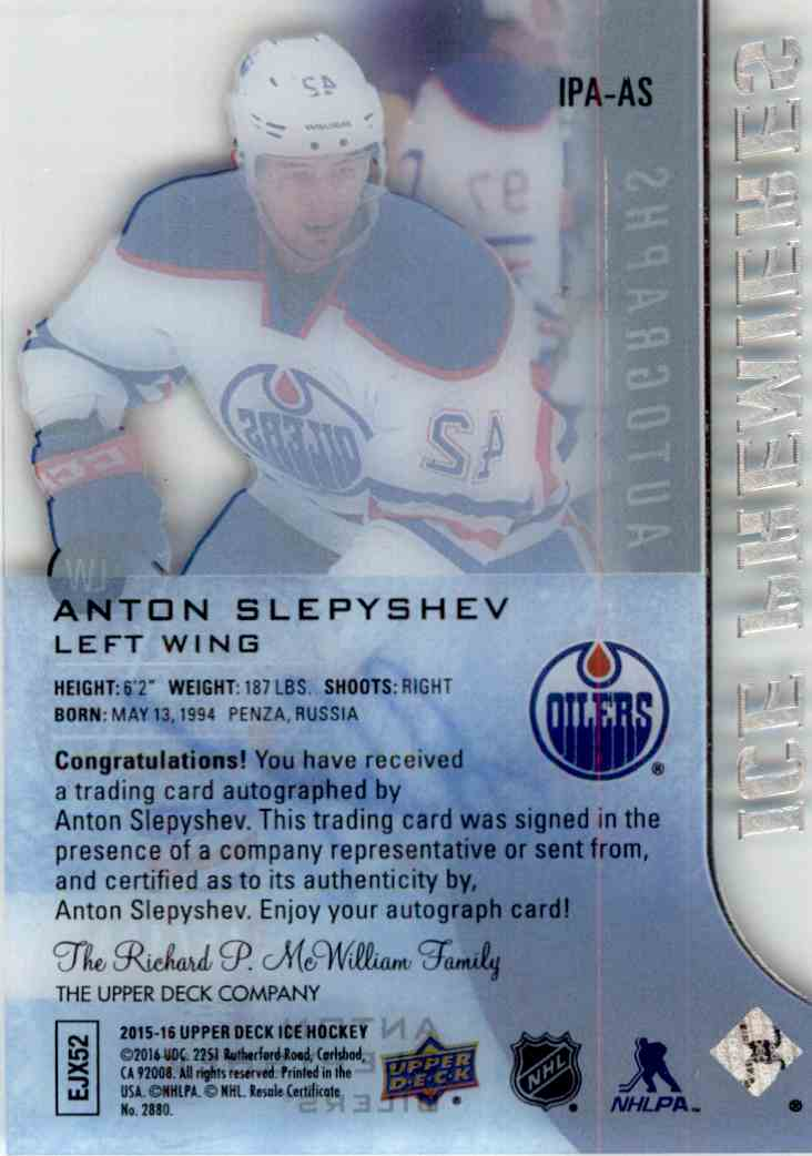 2015-16 Upper Deck Ice Premieres Autograph Anton Slepyshev #IPA-AS card back image