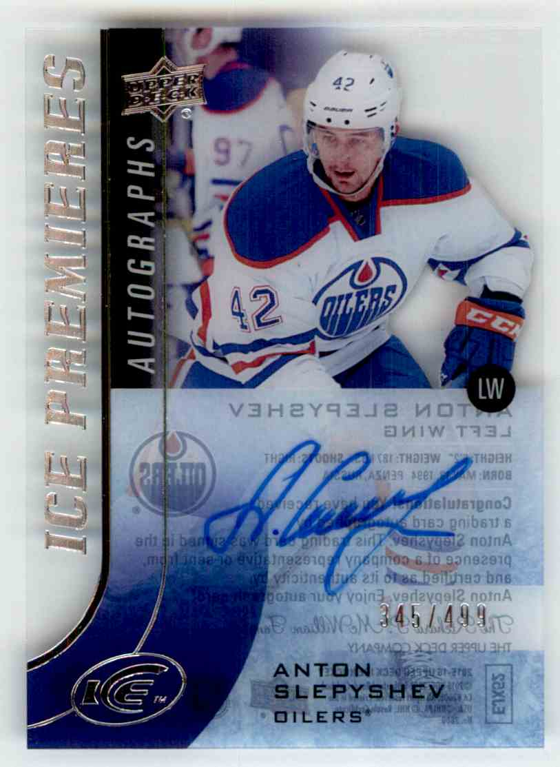 2015-16 Upper Deck Ice Premieres Autograph Anton Slepyshev #IPA-AS card front image