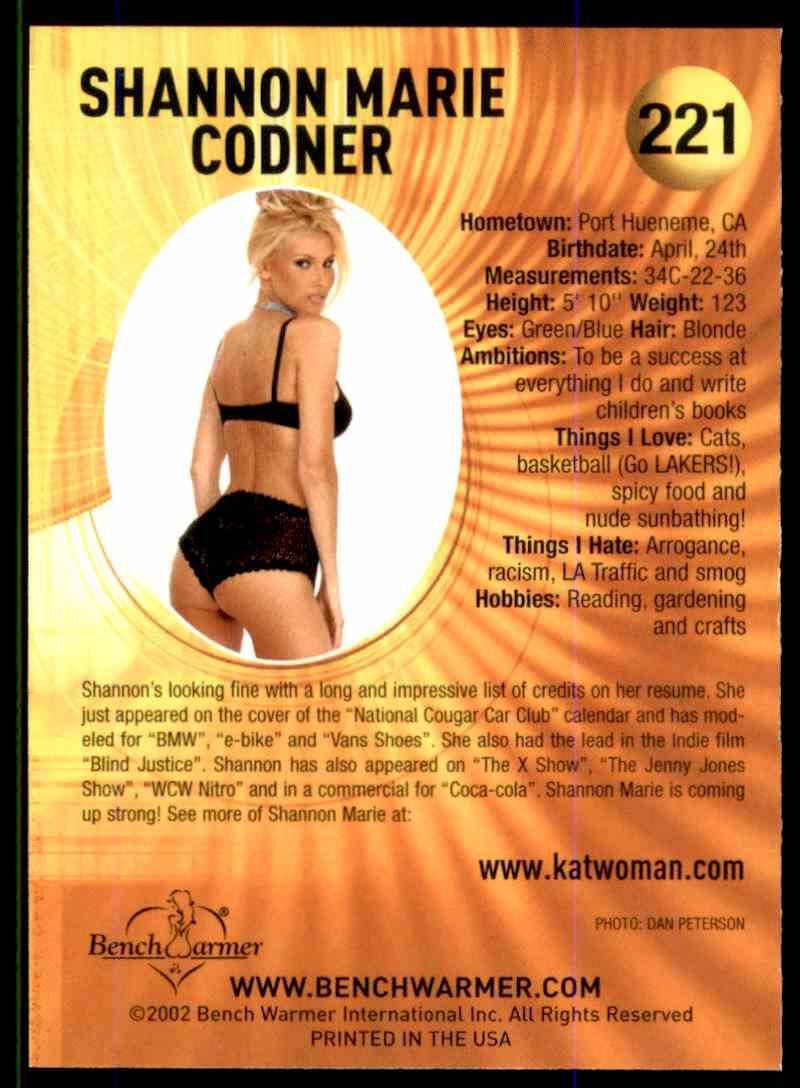 2002 Bench Warmer Shannon Marie Codner #221 card back image
