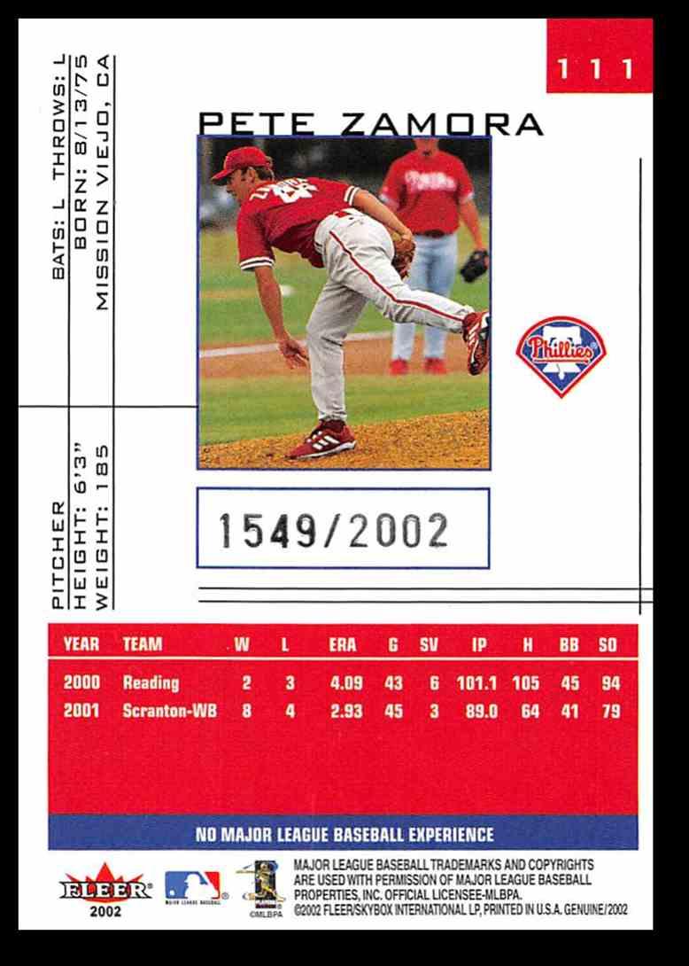 2002 Fleer Fleer Genuine Pete Zamora #111 card back image