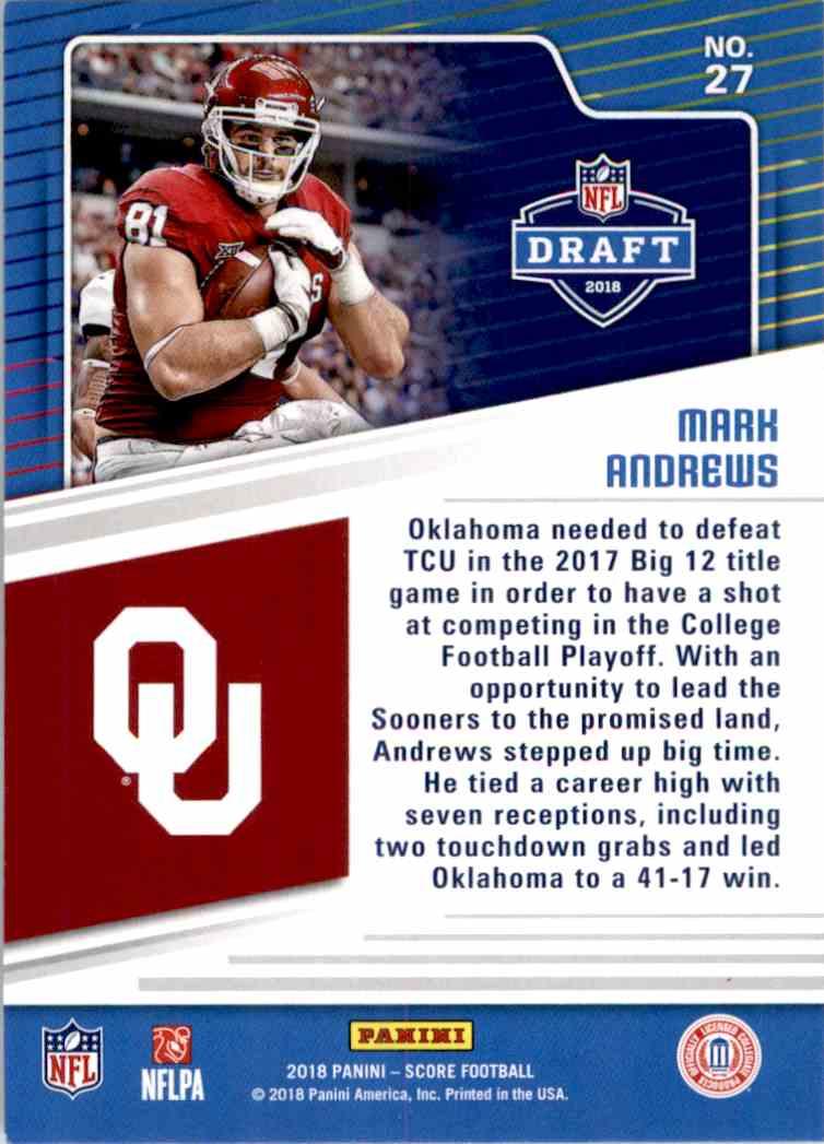 2018 Panini Score Draft Mark Andrews #27 card back image