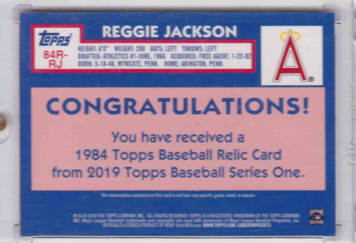 2019 1984 Topps Baseball Relic Card 150th Anniversary Topps Series One Reggie Jackson #84R-RJ card back image