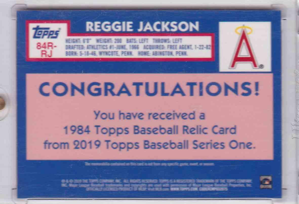 2019 1984 Topps Baseball Relic Card 150th Anniversary Topps Series One Reggie Jackson card back image