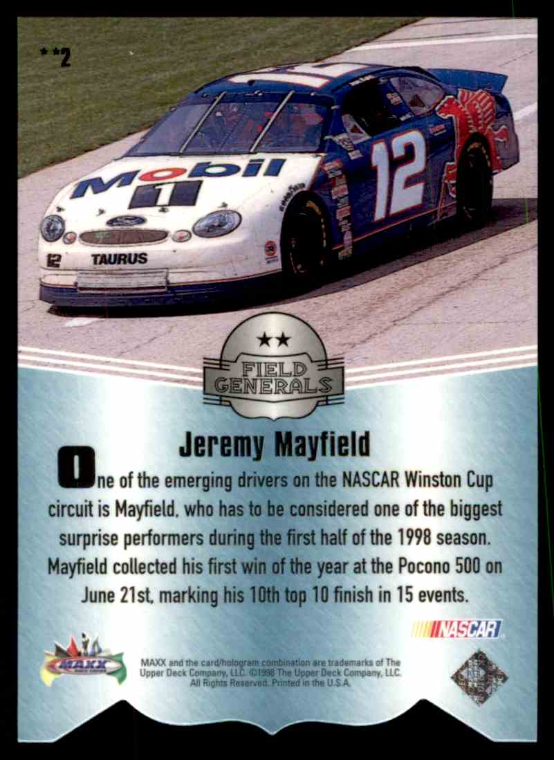 1998 Upper Deck Maxximum Field Generals Two Star Jeremy Mayfield #2 card back image