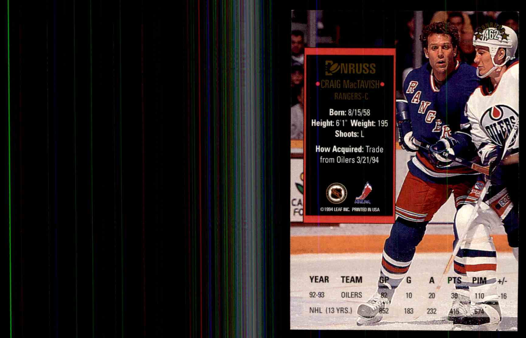 1993-94 Donruss Craig MacTavish #462 card back image