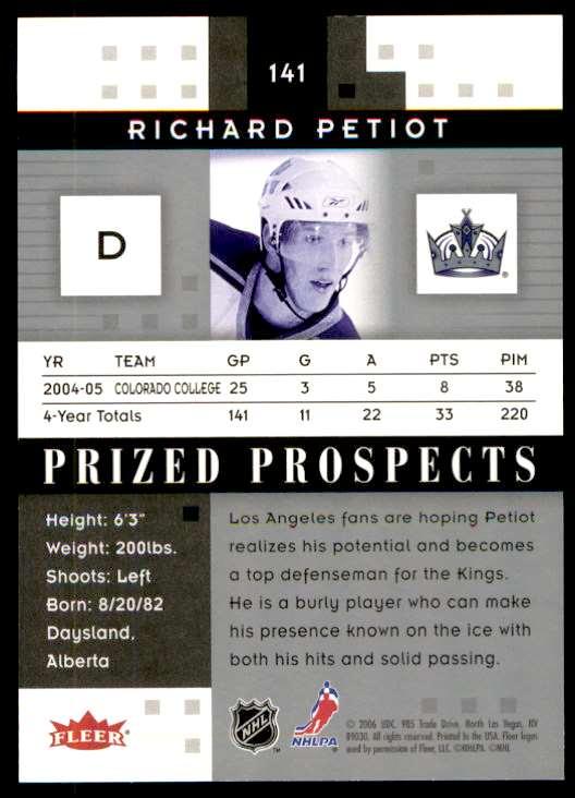 2006-07 Fleer Hot Prospects Richard Petiot #141 card back image