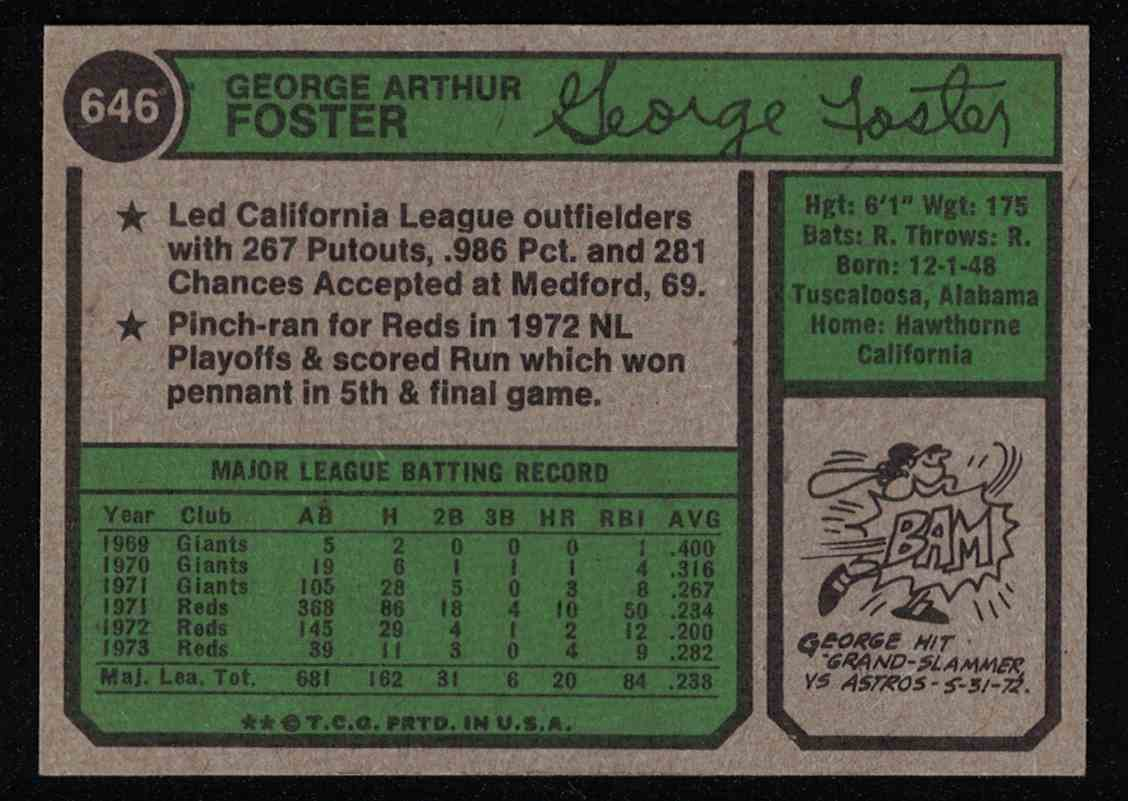 1974 Topps George Foster NM-MT #646 card back image