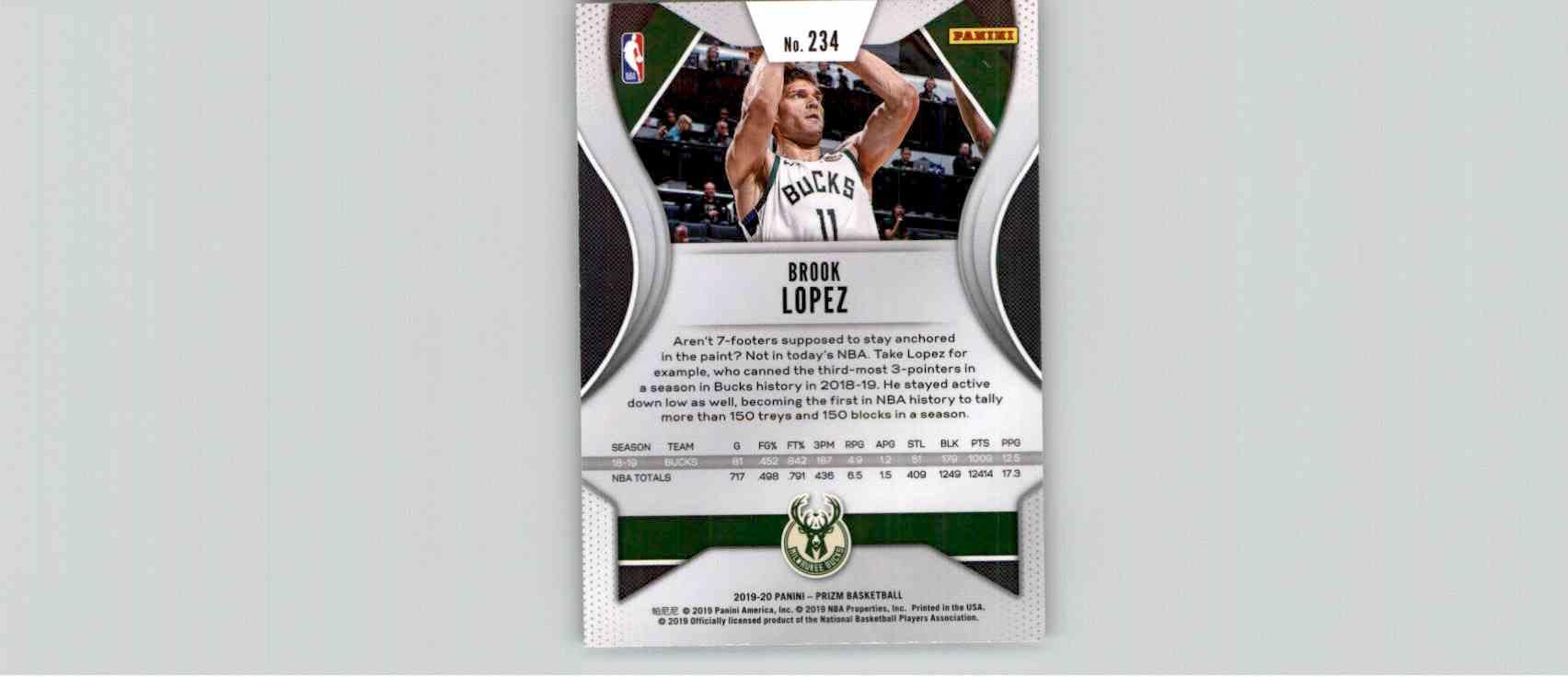 2019-20 Panini Prizm Basketball Prizm Brook Lopez #234 card back image