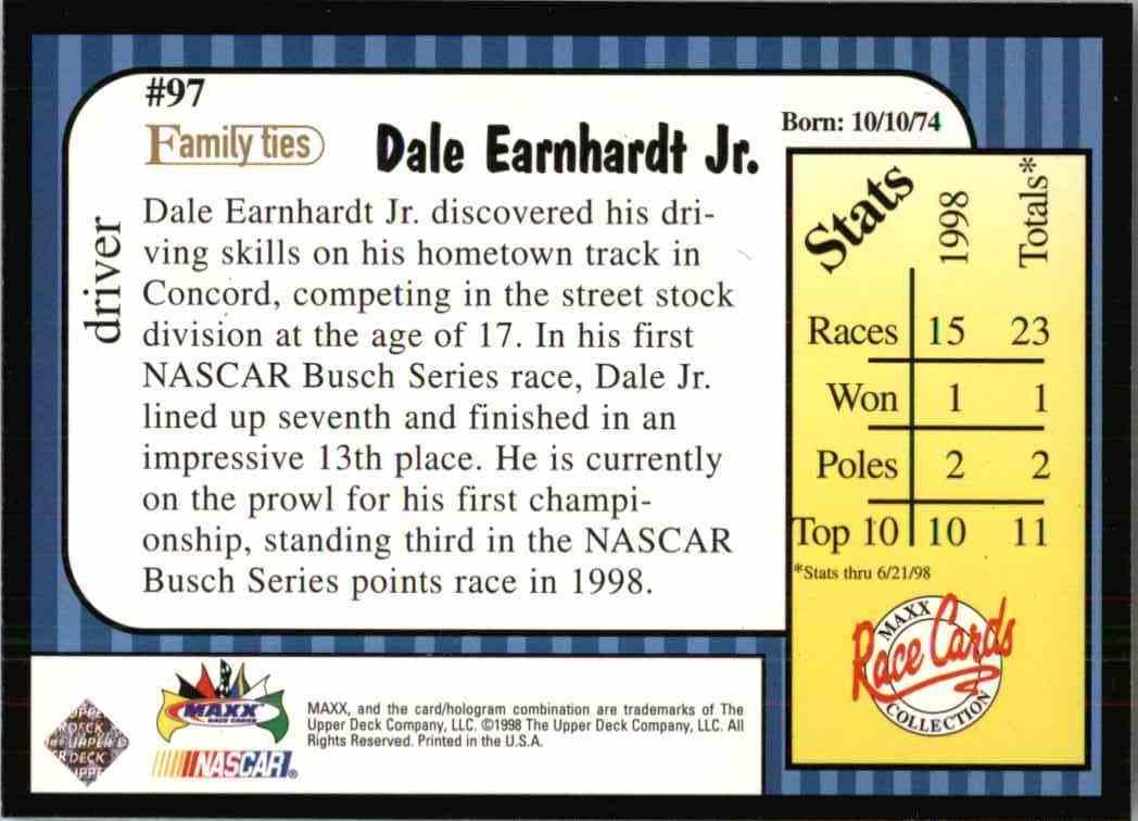 1998 Maxx Dale Earnhardt JR. #97 card back image