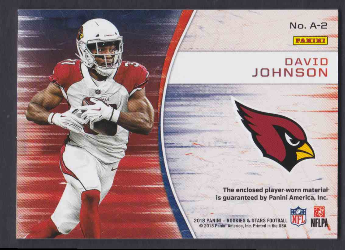 2018 Rookies & Stars NFL Authentic David Johnson #A-2 card back image