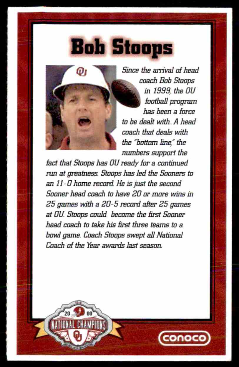 2000 Conoco Ou Sooners National Champions Bob Stoops card back image