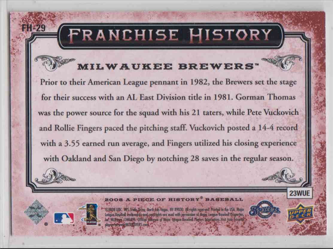 2008 Upper Deck A Piece Of History Franchise History Red Ryan Braun #FH-29 card back image
