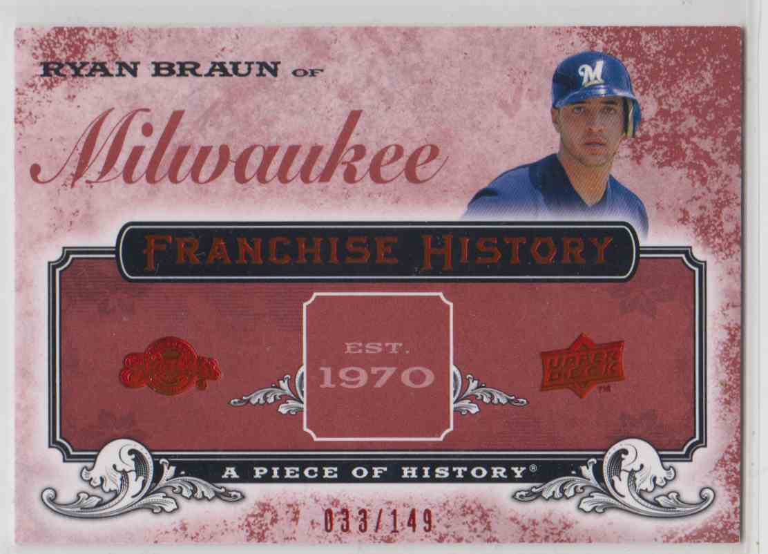 2008 Upper Deck A Piece Of History Franchise History Red Ryan Braun #FH-29 card front image
