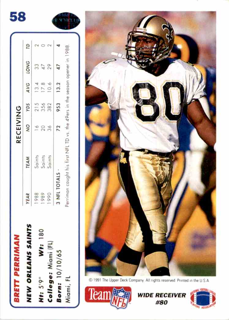 1991 Upper Deck Brett Perriman #58 card back image